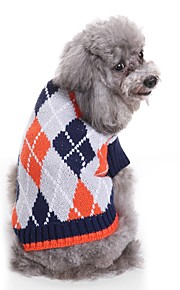 Dogs Sweater Dog Clothes Yarn Dyed / Plaid / Check Coffee / Light Blue Terylene Costume For Pets Unisex Spots & Checks / Casual / Daily