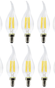 YWXLIGHT® 10 stuks 4 W 300-400 lm E12 LED-kaarslampen / LED-gloeilampen C35 4 LED-kralen SMD Creatief Warm wit / Koel wit 110-130 V