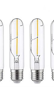 4pcs 2 W 180-200 lm E26 / E27 Lampadine LED a incandescenza T30 2 Perline LED COB Decorativo Bianco caldo 220-240 V