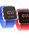 Couple's Red LED Digital Square Case Silicone Band Wrist Watches (1-Pair, Blue & Red) Cool Watches Unique Watches