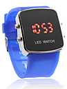 Unisex Red LED Digital Square Case Blue Silicone Band Wrist Watch