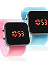 Couple Silicone Band Jelly Sport Style Square Mirror LED Wrist Watch - Light Blue & Pink