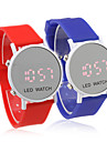 Couple's LED Digital Round Mirror Face Silicone Band Wrist Wathes (1-Pair, Blue & Red)