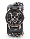 Men's Ripped Cover PU Analog Quartz Wrist Watch with Skeleton (Black)