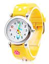 만화 토끼 (노란색)과 귀여운 실리콘 아날로그 석영 손목 시계