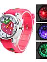 깜박이 주도 빛 (빨간색)를 가진 아이들의 딸기 스타일의 실리콘 아날로그 석영 손목 시계