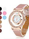 여자의 유행 수정 같은 케이스 PU 밴드 석영 손목 시계 (분류 된 색깔)