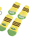 Dog Socks Casual/Daily Keep Warm Cartoon White Yellow For Pets