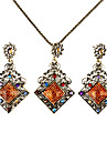 Vintage Diamond Shape Resin Necklace with Earrings Set