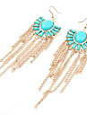 Fanshaped Tassel Alloy Acrylic Earrings