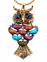 Colorful Owl Antique Gold Turquoise Necklace