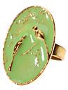 Oval Plate Bird Shape Adjustable Ring