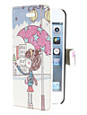 Girl Holding Umbrella Pattern PU Leather Full Body Case for iPhone 5/5S