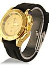 Unisex Ouro Dial Silicone Banda Casual analógico relógio de pulso de quartzo (preto)