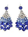 드랍 귀걸이 모조 다이아몬드 합금 드롭 화이트 블루 보석류 파티 일상