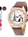 Эйфелева башня Женский стиль PU Аналоговые кварцевые наручные часы (разных цветов)