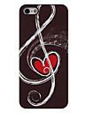 notes de musique avec le coeur rouge à l'intérieur de boîtier en aluminium dur de modèle pour l'iphone 5/5s