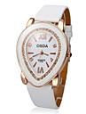 Diamante Padrão PU Leather Analógico Quartz Relógio de pulso das mulheres (branco)