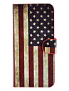 The Stars and the Stripes Pattern Full Body Case with Card Slot and Built-in Matte PC Back Cover for iPhone 5/5S