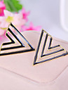 Enamel fashion simple hollow candy colored geometric triangle stud earrings (random color)
