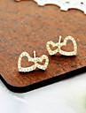 корейских ювелирных моде простые двойные персик сердца полны бриллиантовые серьги серьги (случайный цвет)