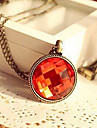 European and American jewelry vintage faceted red gem sweater chain medallion N97