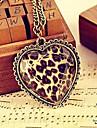 Facettes en verre de bronze de l'amour de coeur de pêche long collier N19