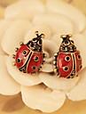 Retro fashion cute ladybug stud earrings vivid red female models E151