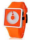 Unisex Creative Two-Dot Dial Silicone Band Quartz Analog Wrist Watch (Orange) Cool Watch Unique Watch