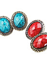 Korean version of the new retro oval hollow section lace earrings gemstone earrings female E351