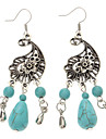 Vintage Antique Silver Green Turquoise Drop Earrings