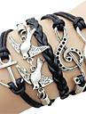 Femme Bracelets - Note de Musique, Ancre, Infini Européen, Mode Bracelet Noir Pour Quotidien / Décontracté