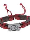 Men/Women's Brown Peace Sign Leather Bracelet(Random Color)  Christmas Gifts