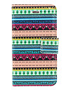 Aztec Blue and Green Stripe Pattern PU Full Body Case with Card Slot and Stand for iPhone 4/4S