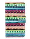 Pattern PU Case Aztec Blue and Green Stripe Full Body avec fente pour carte et Stand pour iPhone 4/4S