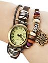 Women's Quartz Analog Snowflake Style Leather Band Bracelet Watch (Brown Band)