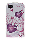 Double heart and Butterfly Pattern PU Leather Full Bady Case for iPhone 4/4S