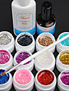15PCS 12 Color 8ML Sequins UV Color Gel  Nail Art Set C