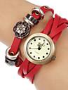 vindima mostrador redondo pulseira de couro pulseira de quartzo analógico relógio das mulheres (cores sortidas)