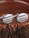 Персональный подарок Овальный серебристого металла с гравировкой запонки