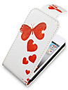 Red Butterfly Up-Down virar PU Leather Bady Full Case para iPhone 4/4S