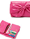 Rose Bowknot grande PU y Dacron tarjeta 3in1 Holder / Monedero / Cartera de la Mujer