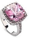Fahion 925 ilver Plated Copper Pink Zircon Ring