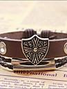 Bracelet à breloques Brown de cuir de cru 24cm hommes (1 PC)