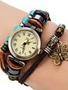 Женская Vintage Style бабочка подвеска Браун Кожаный ремешок кварцевые часы браслет
