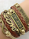 European Chaine With Love Pattern Decoration 23Cm Women'S Gold Alloy Charm Bracelet(1 Pc)