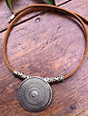 Fashion (Round Pendant) Brown Leather Statement Necklace (1 Pc)