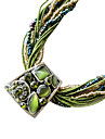 Fashion Bohemian Style (Trapezoid Pendant) Green Fabric Statement Necklace (1 Pc)