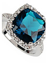 Women\'s Silver Plated Statement Ring - Fashion Blue Ring For Party Daily Casual