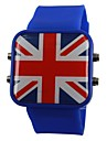 Unisex LED England Flag Style Silicone Band Wrist Watch(Assorted Colors)